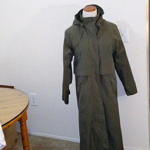 L.L.Bean womens long coat green size small
